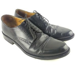Johnston Murphy Mens 10.5W Black Cap Toe Oxford